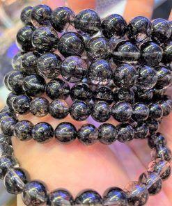 Vòng đá thạch anh tóc đen giá sỉ (Tourmalinated Quartz)